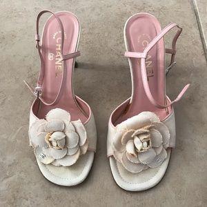 White Chanel florals sandals